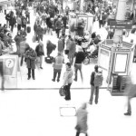 Crowds of people at a busy subway station